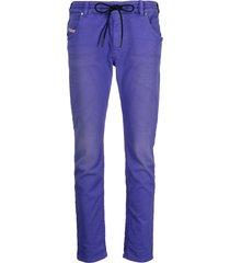 diesel drawstring denim track pants - purple
