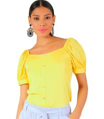 blusa manga corta amarillo unipunto 32250