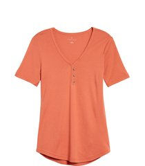 women's caslon henley tee, size xx-large - coral
