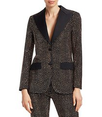 metallic embellished wool single-breasted blazer