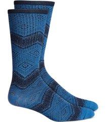 sun + stone men's blue geometric socks