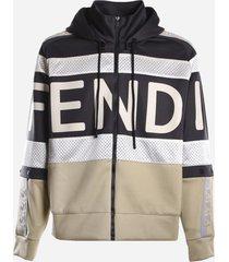 fendi cotton blend sweatshirt with mesh inserts