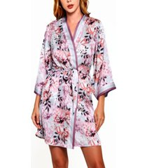 women's floral robe with contrast trims