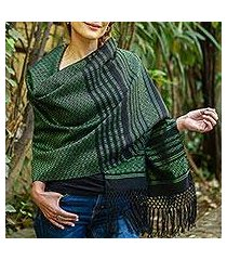 cotton rebozo shawl, 'evening drama' (mexico)