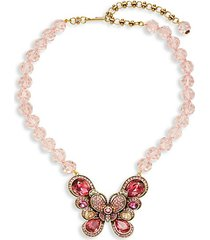 multi-crystal glass beaded butterfly pendant necklace