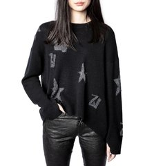women's zadig & voltaire markus monogram cashmere sweater, size large - black