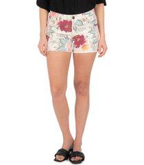 women's kut from the kloth floral cutoff high waist denim shorts, size 18 - white