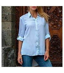 rayon blouse, 'mutiara blue' (indonesia)