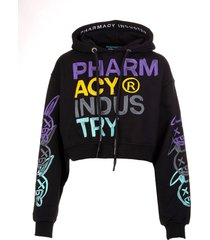 pharmacy industry woman black hoodie with multicolored xanny logo prints