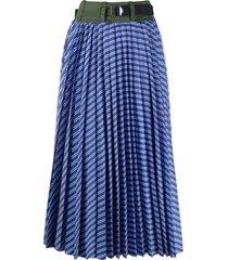 cotton poplin pleated skirt