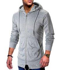 zip up ripped pleated long sleeve hoodie