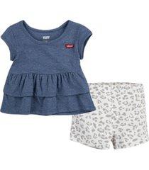 levi's little girls tiered peplum top and shorts set