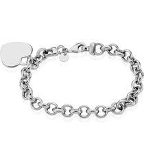 bracciale con charm cuore in argento 925 rodiato per donna