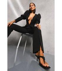premium broek met split, zwart