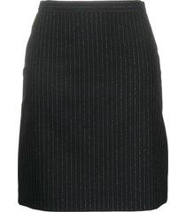 alexander mcqueen pinstripe back-ruffle wool skirt - black