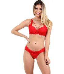 conjunto imi lingerie strappy bra em microfibra lãzia vermelho - vermelho - feminino - dafiti