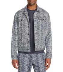 tallia men's slim-fit stretch snake skin print trucker jacket