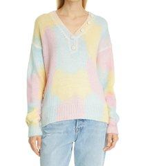 women's loveshackfancy naveen tie dye pullover, size medium - pink