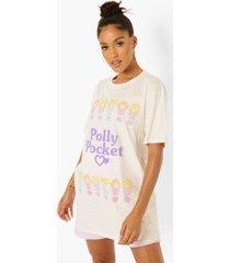 oversized gelicenseerd polly t-shirt met borstopdruk, stone