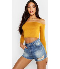 basic long sleeve bardot crop top, mustard