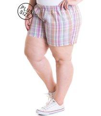 short feminino plus size tecido anarruga 51931 xadrez