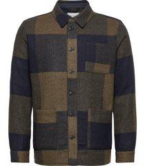 jason wool check hybrid overshirts groen les deux