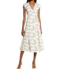 women's reformation carina midi wrap dress, size medium - ivory (regular & plus size) (nordstrom exclusive)