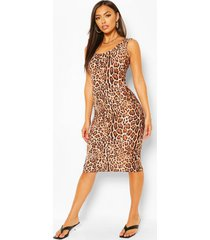 animal print scoop neck bodycon midi dress, brown