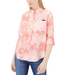 calvin klein jeans sunburst tie-dye button-up shirt