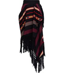 etro wool and silk skirt with fringes