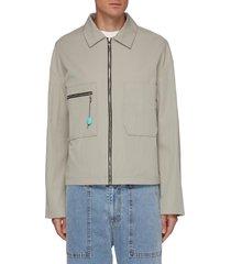 zipper patch pocket jacket
