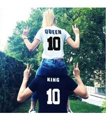 street style king queen 10 letter print funny couple t-shirt