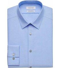 calvin klein men's infinite non-iron blue stripe slim fit dress shirt - size: 18 34/35