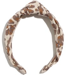 madewell knotted covered headband, size one size - brown