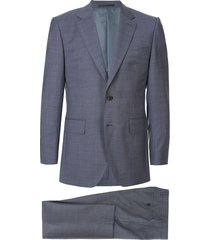 gieves & hawkes mini geometric print suit - blue