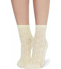 calzedonia - openwork cotton socks, one size, yellow, women