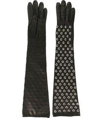 manokhi studded long gloves - black