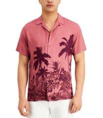 inc men's regular-fit tonal tropical-print camp shirt, created for macy's