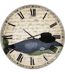 "designart old style whale with hat large nautical & coastal wall clock - 36"" x 28"" x 1"""