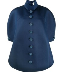 loulou crystal-button pull-over mesh coat - blue