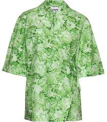 printed cotton poplin overhemd met korte mouwen groen ganni