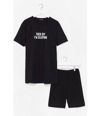 womens fuck off i'm sleeping tee and shorts pajama set - black