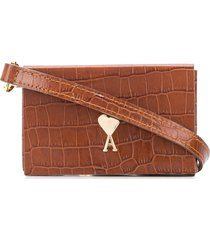 ami paris mini crocodile-embossed crossbody bag - brown