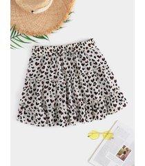 falda con diseño de lazo con ribete de leopardo y volantes