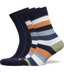 timber 4-pack socks - block striped underwear socks regular socks multi/mönstrad knowledge cotton apparel