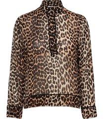 printed georgette blouse lange mouwen bruin ganni