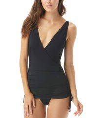 carmen marc valvo side-tie tummy control swim dress women's swimsuit