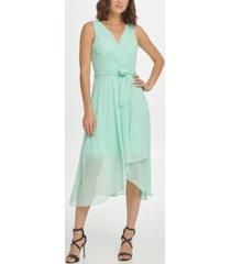 dkny belted sleeveless faux wrap dress
