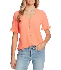 women's cece ruffle sleeve crepe blouse, size x-small - coral