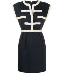 chanel pre-owned textured appliqués short dress - blue